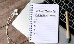 New Year's Resolutions List on Notepad